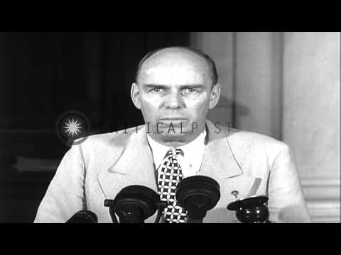 Senator owen brewster, chairman, special senate committee to investigate national...hd stock footage