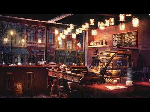 Rainy night coffee shop ambience with relaxing jazz music and rain sounds - 8 hours