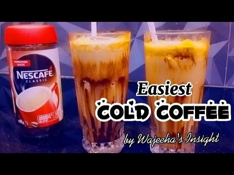 Cold coffee recipe | how to make cold coffee | iced nescafe frappe | wajeeha's insight